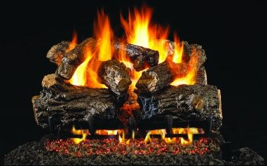 BURNT RUSTIC OAK GAS LOGS