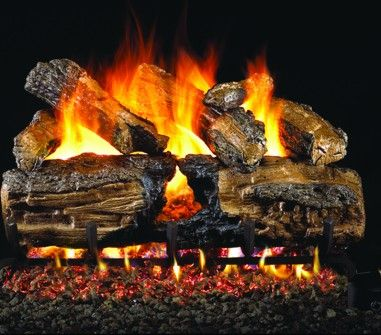 BURNT SPLIT OAK GAS LOGS