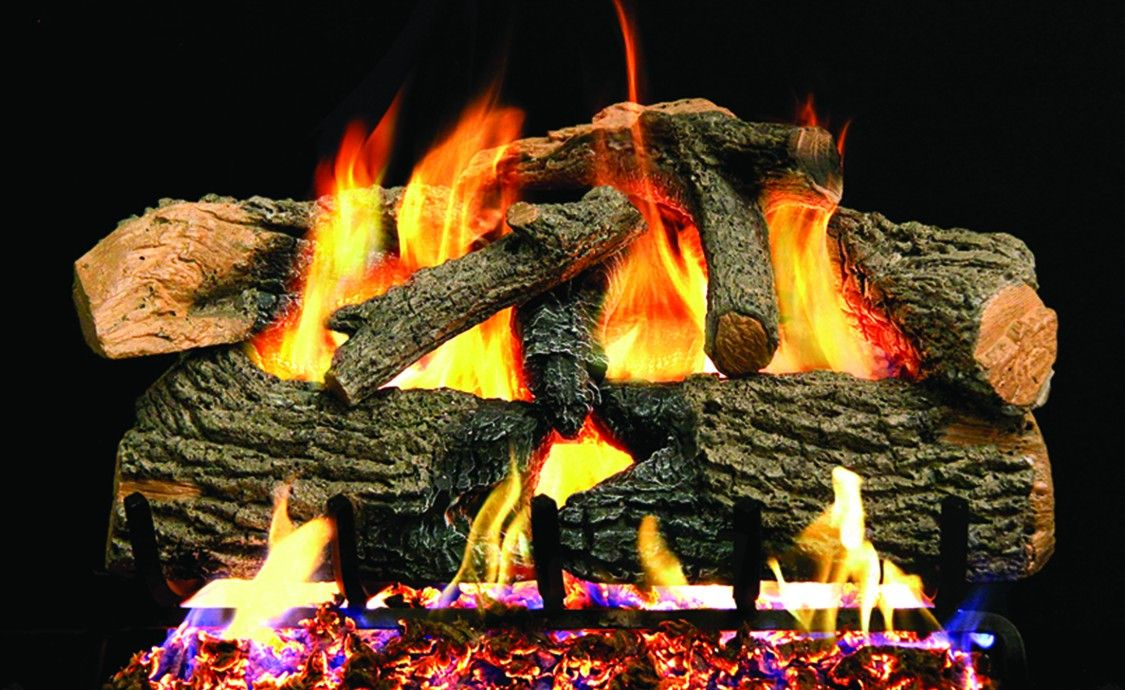 CHARRED EVERGREEN OAK GAS LOGS