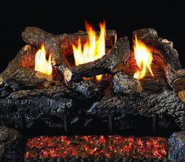 EVENING FIRE CHARRED GAS LOGS