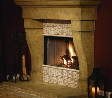 Valentina rustic gas fireplace